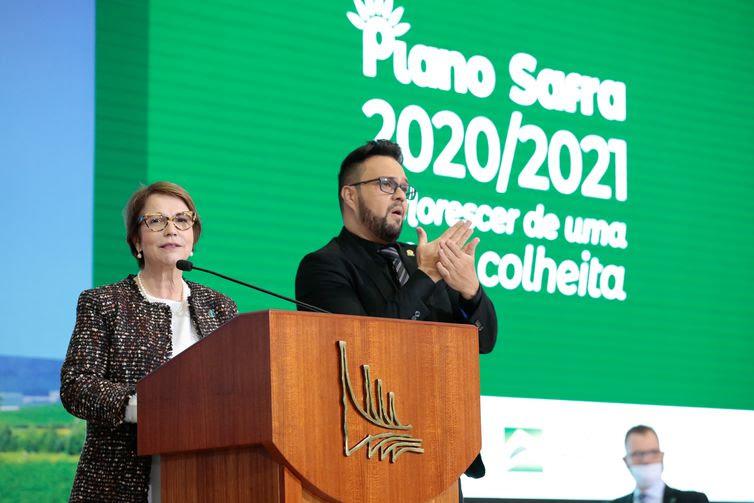 Ministra da Agricultura, Teresa Cristina da Costa Dias, durante o lançamento do Plano Safra 2020/2021